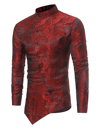 cheap Up to 90% off-Men's Luxury Slim Shirt - Solid Colored Jacquard Standing Collar / Long Sleeve