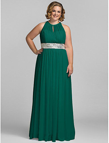 23967660022 Plus Size Sheath   Column Halter Neck Floor Length Chiffon Celebrity Style    Keyhole Prom   Formal Evening Dress with Sequin   Pleats by TS Couture®