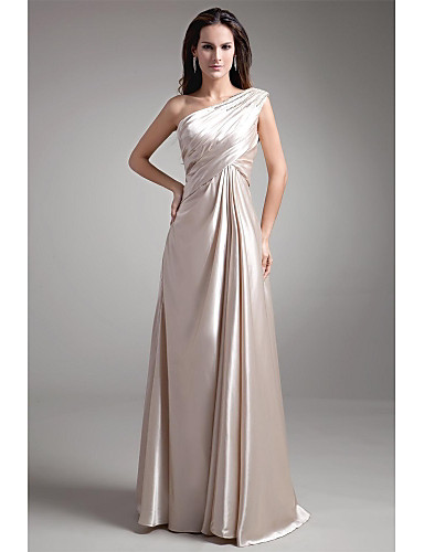 A-Linie Ein-Schulter Boden-Länge Stretch - Satin Abiball Formeller Abend Kleid mit Perlenstickerei Plissee durch TS Couture®
