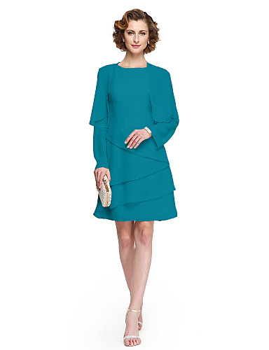 voordelige Wrap Dresses-A-lijn Met sieraad Tot de knie Chiffon Bruidsmoederjurken met Plooien door LAN TING BRIDE®