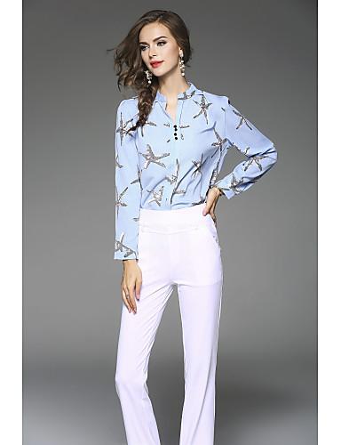 Mulheres Blusa Estilo Artístico, Sólido Floral Poliéster Colarinho Chinês