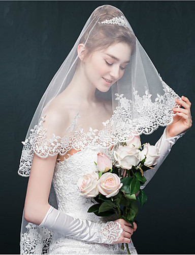 One-tier Lace Applique Edge Wedding Veil Blusher Veils / Elbow Veils with Appliques / Sparkling Glitter Tulle / Oval