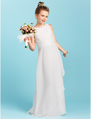 Sheath / Column Jewel Neck Floor Length Chiffon Junior Bridesmaid Dress with Ruched / Pleats by LAN TING BRIDE® / Wedding Party / Open Back