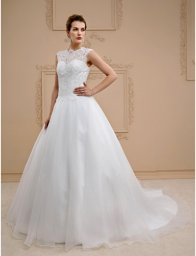 Ball Gown Jewel Neck Chapel Train Lace / Organza Made-To-Measure Wedding Dresses with Beading / Buttons by LAN TING BRIDE® / See-Through / Beautiful Back