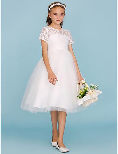 A-vonalú Hercegnő Terített nyak Térdig érő Csipke Tüll Junior koszorúslány ruha val vel Rakott által LAN TING BRIDE®