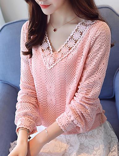 povoljno Ženske majice-Majica s rukavima Žene Dnevno / Rad / Vikend Jednobojni V izrez Dusty Rose Obala / Proljeće / Jesen