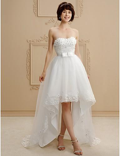 afe4f68c2 Corte en A Escote Corazón Asimétrica Encaje   Tul Vestidos de novia ...