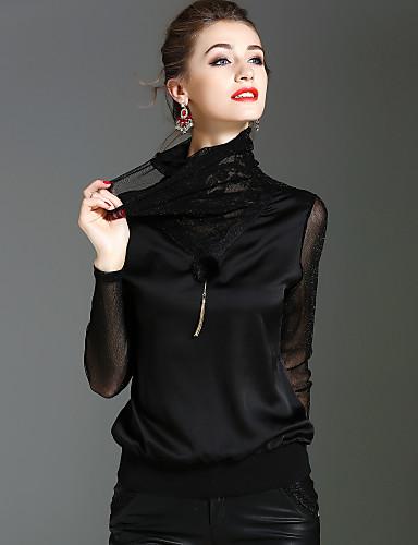 billige Topper til damer-Rullekrage T-skjorte Dame - Ensfarget Gatemote / Sofistikert Ferie / Ut på byen