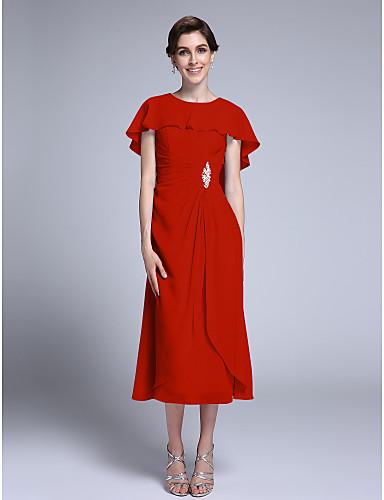 8fa88c9a9786 Ίσια Γραμμή Με Κόσμημα Κάτω από το γόνατο Σιφόν Φόρεμα Μητέρας της Νύφης με  Κρυστάλλινη λεπτομέρεια με LAN TING BRIDE®