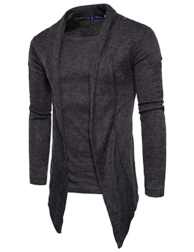 Men's Daily / Weekend Solid Colored Long Sleeve Slim Long Pullover, Round Neck Fall / Winter Wool Red / Dark Gray / Light gray L / XL / XXL