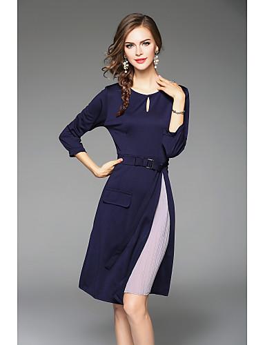 여성용 시크&모던 칼집 드레스 - 컬러 블럭 미디