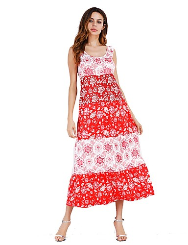 Women's Going out Loose Dress - Floral Deep U