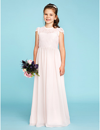 4677d732d A-Line / Princess Crew Neck Floor Length Chiffon / Lace Junior Bridesmaid  Dress with Buttons / Pleats by LAN TING BRIDE® / Wedding Party / See Through