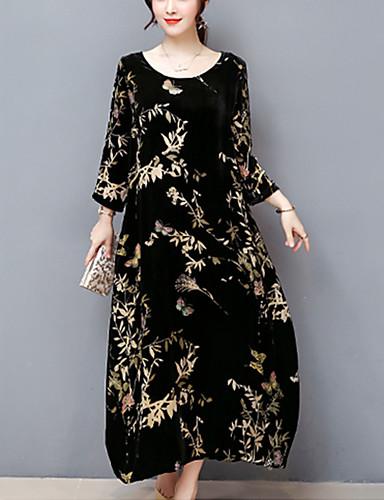 abordables Robes Femme-Femme Grandes Tailles Sortie Chic de Rue Midi Ample Robe - Imprimé, Fleur Noir Automne Noir XXL XXXL XXXXL Manches 3/4