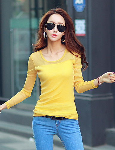 abordables Camisas y Camisetas para Mujer-Mujer Noche Camiseta Un Color Morado XL / Otoño / Invierno
