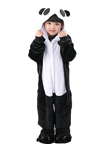 22dc4a561851 Kid s Kigurumi Pajamas Panda Onesie Pajamas Flannel Fabric Black   White  Cosplay For Boys and Girls Animal Sleepwear Cartoon Festival   Holiday  Costumes