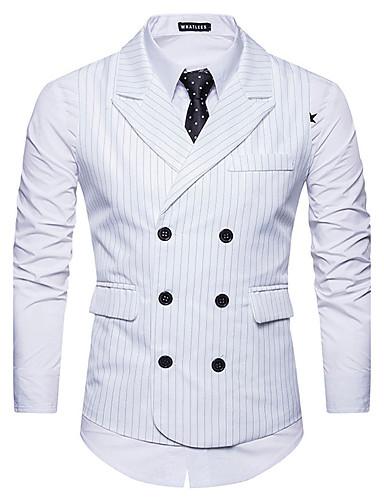 رخيصةأون سترات و بدلات الرجال-رجالي أبيض أسود رمادي غامق L XL XXL Vest أسود و أبيض الوحوش المذهلة فانتاستيك بيستس مخطط نحيل / بدون كم / الخريف / الشتاء