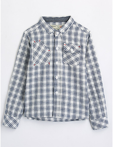 Boys' Houndstooth Shirt, Cotton Fall Long Sleeves White