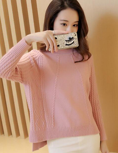 Women's Going out Casual Long Sleeve Cotton Pullover - Solid Colored / Spring / Fall