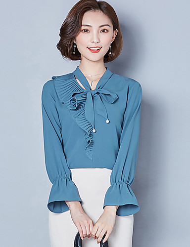 Women's Street chic Blouse - Solid Colored, Bow V Neck