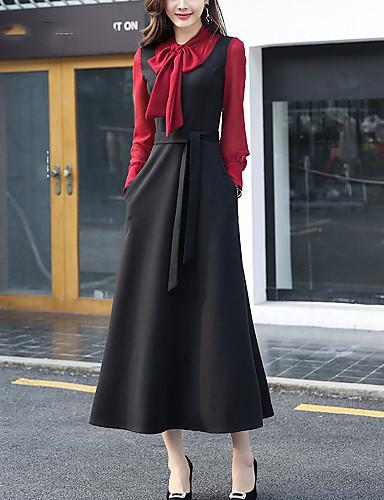 82f47472450 Mujer Tallas Grandes Noche Chic de Calle Manga de la linterna Algodón Corte  Swing Vestido - Lazo