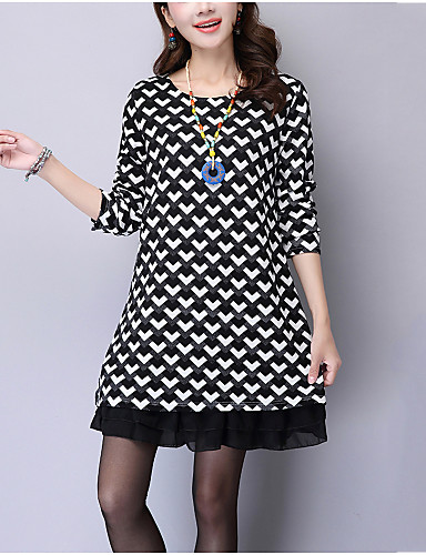 Women's Plus Size Going out Street chic Loose Dress - Check