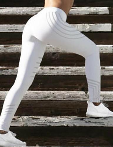 billige Tights til damer-Dame Sexy Sporty Tights - Fargeblokk, Trykt mønster Høy Midje Hvit Svart M L XL / Skinny