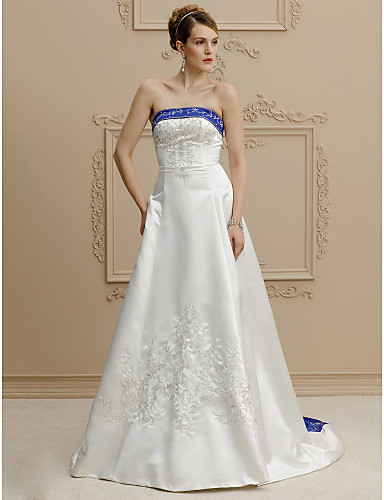A-Line Strapless Court Train Satin Made-To-Measure Wedding Dresses with Beading / Buttons / Embroidery by LAN TING BRIDE® / Open Back