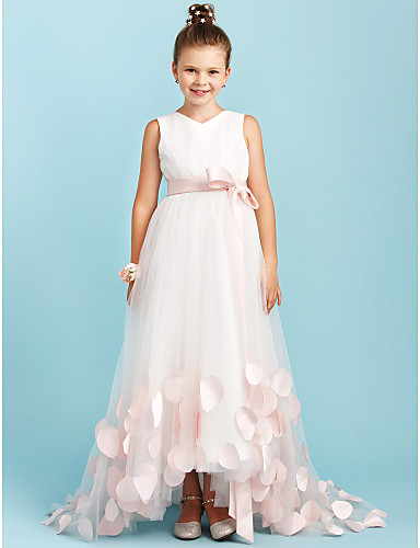 2bb9f27bfc A-Line / Princess V Neck Sweep / Brush Train Satin / Tulle Junior Bridesmaid  Dress with Bow(s) / Sashes / Ribbons by LAN TING BRIDE® / Wedding Party