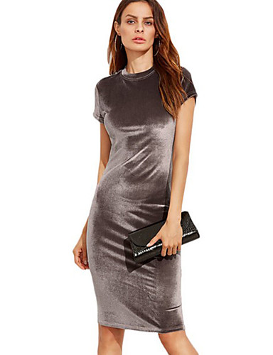Women's Club Going out Holiday Street chic Sheath Dress - Solid Colored High Rise Stand