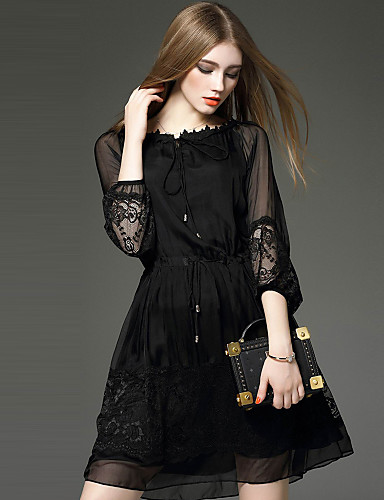 YHSP Women's Casual Sophisticated Street chic A Line Sheath Little Black Dress - Solid Colored Embroidered, Lace