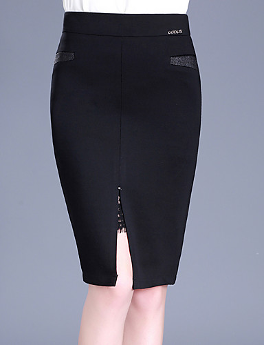 Women's Plus Size Bodycon Skirts - Solid Colored Split