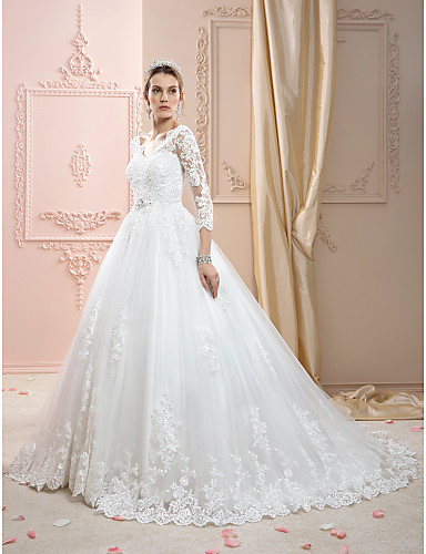 cheap Wedding Dresses-Kate Style Ball Gown V Neck Court Train Lace Over Tulle Made-To-Measure Wedding Dresses with Appliques / Crystals by LAN TING BRIDE® / Illusion Sleeve / Open Back