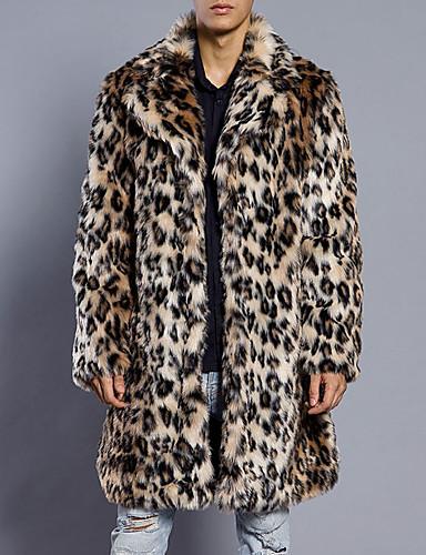 Men's Simple / Casual Long Plus Size Faux Fur Slim Fur Coat - Leopard Shirt Collar / Long Sleeve