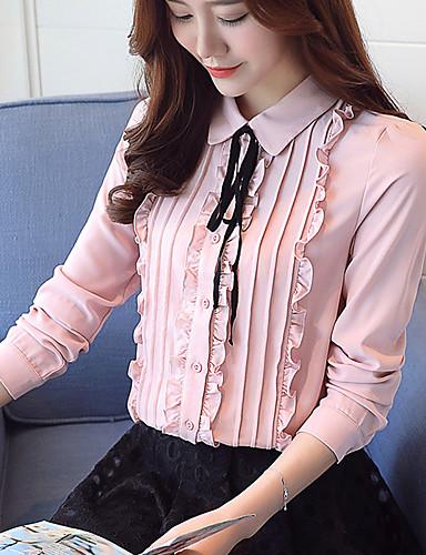 abordables Camisas y Camisetas para Mujer-Mujer Trabajo Blusa, Cuello Camisero Un Color Rosa L / Primavera / Otoño / Floral
