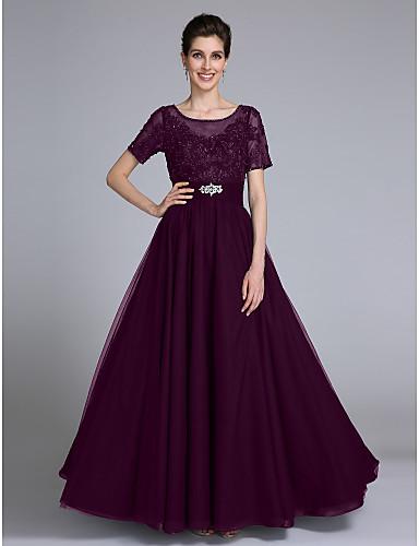 83700ea82700 Ίσια Γραμμή Scoop Neck Μακρύ Σιφόν   Δαντέλα Φόρεμα Μητέρας της Νύφης με  Χάντρες   Διακοσμητικά Επιράμματα   Κρυστάλλινη λεπτομέρεια με LAN TING  BRIDE®