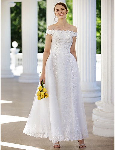 cheap Wedding Dresses-A-Line Off Shoulder Ankle Length Glitter Lace Made-To-Measure Wedding Dresses with Sequin / Appliques / Crystals by LAN TING BRIDE® / Sparkle & Shine