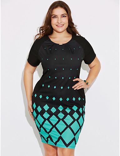 Mujer Tallas Grandes Pantalones - Geométrico Estampado Negro / Noche / Delgado