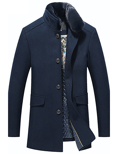 Men's Daily Basic Fall / Winter Regular Trench Coat, Solid Colored Fantastic Beasts Stand Long Sleeve Wool / Cotton / Acrylic Navy Blue / Khaki XL / XXL / XXXL