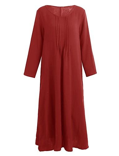 voordelige Grote maten jurken-Dames Grote maten Tuniek Jurk - Effen U-hals Maxi / Ruimvallend