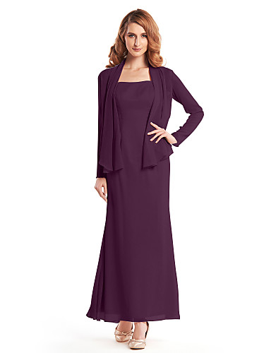 Sheath / Column Straps Ankle Length Crepe Mother of the Bride Dress with Pleats by LAN TING BRIDE®