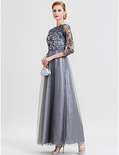 252a40ea3b67 A-Line / Ball Gown Illusion Neck Floor Length Floral Lace / Lace Over Tulle  Mother of the Bride Dress with Appliques by LAN TING BRIDE® / Illusion  Sleeve ...