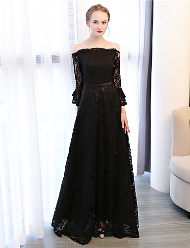 A-Line Off Shoulder Ankle Length Lace Prom / Formal Evening Dress with by