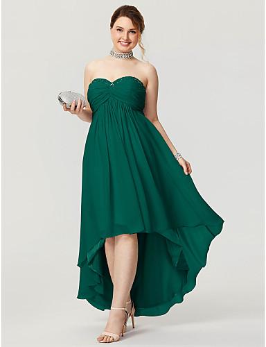 voordelige Grote maten jurken-A-lijn Sweetheart Asymmetrisch Chiffon Hoog laag Schoolfeest Jurk met Kralen / Ruches door TS Couture®
