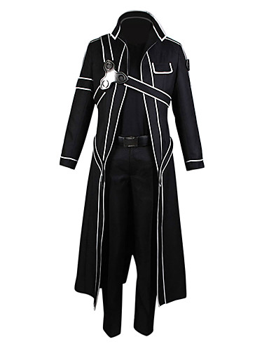 cheap Anime Costumes-Inspired by SAO Alicization Kirito Anime Cosplay Costumes Cosplay Suits Solid Colored Long Sleeve Pants / Gloves / Cloak For Men's / Women's