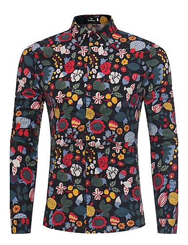 Koszula Męskie Vintage Wzornictwo chińskie, Kwiatowy Impreza Klubowa Stójka Kwiaty