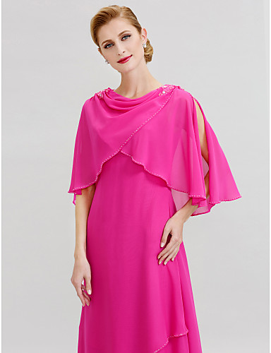 A-Line Cowl Neck Floor Length Chiffon Mother of the Bride Dress with Beading by LAN TING BRIDE®