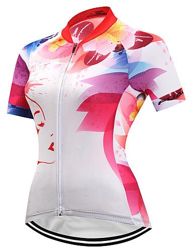 Χαμηλού Κόστους Ρουχισμός Ποδηλασίας-FUALRNY® Γυναικεία Κοντομάνικο Φανέλα ποδηλασίας Κόκκινο και Άσπρο Ποδήλατο Αθλητική μπλούζα Γρήγορο Στέγνωμα Αντανακλαστικές Λωρίδες Αθλητισμός Coolmax® Λίκρα Ρούχα / Υψηλή Ελαστικότητα