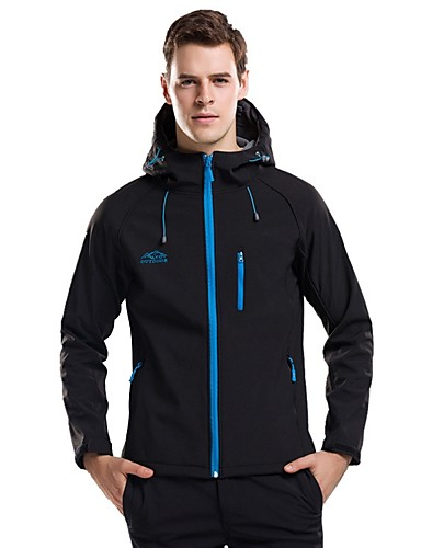 cheap Outdoor Clothing-Men's Women's Hiking Jacket Outdoor Autumn / Fall Winter Windproof Softshell Jacket Top Elastane Rain Proof Hiking Camping Black / Black / Silver