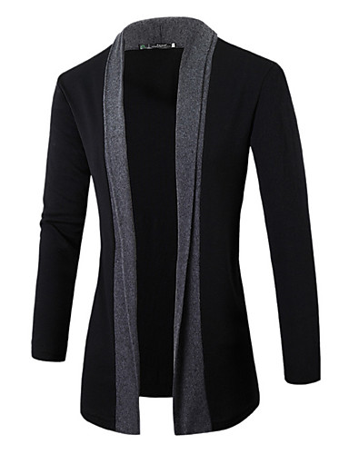 Men's Weekend Active Long Sleeves Slim Cardigan - Solid Colored Color Block Shirt Collar